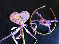 Crown and wand made from a Disney craft set.