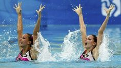 Team GB's synchronised swimmers Olivia Allison and Jenna Randall