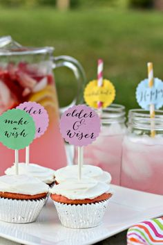 "Summer Birthday Printables for us ""older and wiser"" folks!  Cupcake and Drink Toppers"