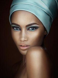 Amazing Fashion Shot Of Pretty Blue Eye Make Up That Matches A Silk Pale Turquoise Turban Nude Lips Soft Skin Colours Facial Close