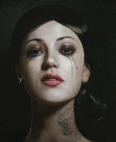 Beautiful artwork by Kris Lewis #portrait #tattoos #painting #art #woman