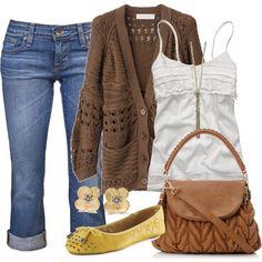White tank, Med. wash cuffed skinnies, Brown crochet cardi, Mustard flats, Mustard earrings, Chestnut satchel