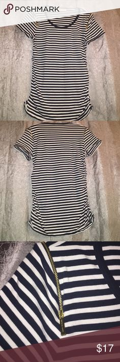 EUC Michael Kors Shirred Top This top is very cute and it features the gold MK zippers on the shoulders. Perfect for any MK lover! Michael Kors Tops Tees - Short Sleeve