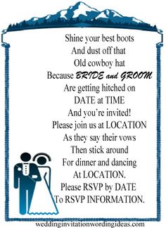 country wedding invitation wording, very cute. #dawninvitescontest
