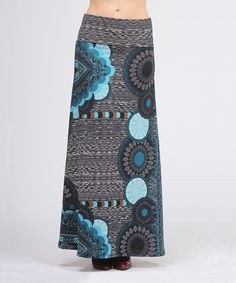 Blue & Black Medallion Maxi Skirt