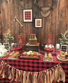 Get lumberjack birthday party ideas. Check out these buffalo plaid decorations, boy baby shower ideas, and kid birthday ideas for a boy shower or birthday. Baby Shower Backdrop, Baby Shower Signs, Baby Shower Themes, Baby Boy Shower, Baby Shower Decorations, Camping Party Decorations, Lumberjack Birthday Party, 1st Boy Birthday, First Birthday Parties