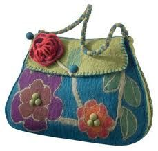 Felted Wool Handbag with great bold colors and design