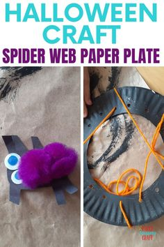 Spider web paper plate craft for Halloween, simple Halloween craft for kids that you can hang up as decor in your home, easy crafts for kids, paper plate crafts for kids, Halloween paper plate craft, toddler crafts, crafts for kids Halloween Crafts For Kids, Halloween Fun, Paper Plate Crafts For Kids, Kids Crafts, Indoor Activities For Kids, Toddler Activities, Easy Toddler Crafts, Spider Crafts, Halloween Spider