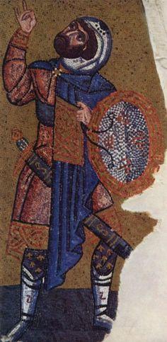 Мозаики из церкви Неа-Мони на Хиосе. Распятие. Фрагмент. Лонгин, Около 1050, Мозаика