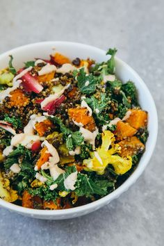 Roasted Veggie and Quinoa Salad with Tahini Garlic Dressing