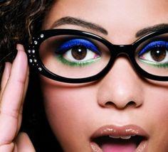 blue, green, grey taupe makeup