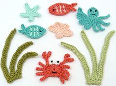 ⭐  Aplique de Polvo Estrela do Mar Caranguejo Arraia Peixes em Crochê - / …