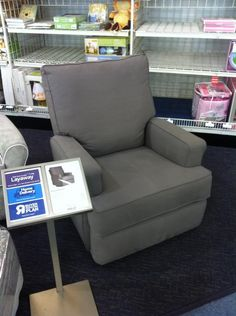 We have zero options for smaller recliners, for our nursery, where I live, so I sent my mom out to research. She found this guy at BabiesRUs for 499.99. Can't find a direct link online, but found this picture. I think this is the one we want. With baby #1, we used an exercise ball to calm her down in the middle of the night. Imagine trying to keep your balance, with zero sleep, while holding a baby. Not a great idea. lol - SHADOW KERSEY SWIVEL RECLINER