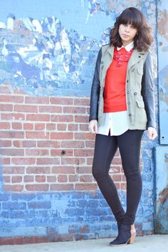 Red on Red Bubble Necklace styling for cooler months