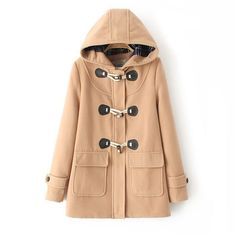 Pretty Simple Duffle-Style Hooded Horn Button Winter Coat w/or without Padding 5 Colors S-XL