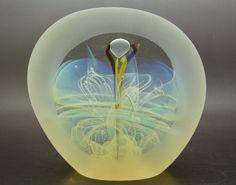 """BILL SLADE Opalescent Spiral Flat 83 Glass Sculpture/Paperweight,Apr 5.5""""Lx5.5""""W #BillSlade"""