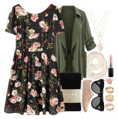 """""""Earthy Florals"""" by birdofparadise25 ❤ liked on Polyvore featuring Forever 21, Falke, Linda Farrow, MAC Cosmetics, women's clothing, women, female, woman, misses and juniors"""