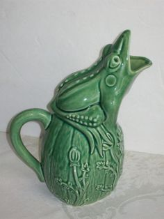 Green Bordallo Pinheiro Portugal Pottery Frog on Gourd Pitcher Jug  in Pottery & Glass, Pottery & China, Art Pottery, Bordallo Pinheiro | eBay