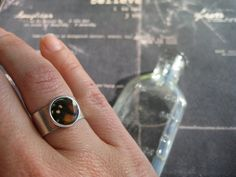 Monarch Series.  Real butterfly wing under resin in adjustable ring