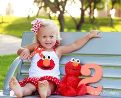 Elmo Polka Dot Orange and Red Short and Halter Top Spring Summer  Set Birthday Girl Bow