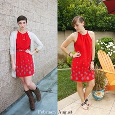 Red Hot -- thrifted Old Navy shift dress TWO WAYS | Delightfully Kristi #ThriftStyleThursday