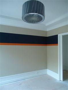 Navy  orange stripe on tan walls - Elmhurst New Construction Project : Kid's Bedroom