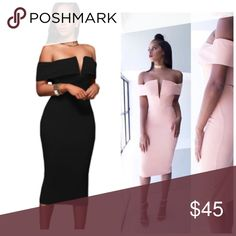 🎉🎉🆕🆕Off the shoulder midi dress off-the-shoulder neckline with V cut, padded bust and flattering midi silhouette in a curve-hugging fit, back slit for convenient wear. NWOT🔺M(8-10) 🔺L(12-14)    🔴🔴PINK (Medium left) Dresses Midi