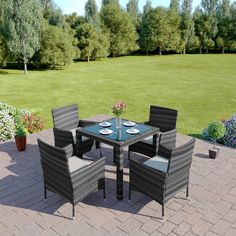 This 5 piece rattan garden furniture set turns your garden, patio or conservatory into a stylish dining area. For the best prices on rattan furniture visit us today. Rattan Garden Furniture Sets, Outdoor Dining Furniture, Home Furniture, Outdoor Decor, Furniture Chairs, Cube Chair, Corner Dining Set, Sofa Price, Table Settings