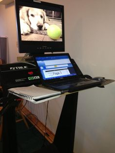 Twitter / trieverdog: @OttawaMorning here is a picture !  DIY treadmill desk examples curated by WorkWhileWalking.com Treadmill Desk, Twitter, Health, Fitness, Pictures, Diy, House, Photos, Health Care