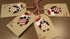 Fun hanging gift tags feature hand punched and pieced penguins with cute Santa hats! Tags measure approximately inches. Red and white bakers Christmas Gift Tags, Christmas Crafts, Owl Card, Owl Punch, Santa Hat, Diy Painting, Card Making, Paper Crafts, Gift Wrapping