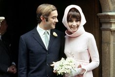 1969 Dr. Andrea Dotti and Audrey Hepburn (in wedding dress designed by Givenchy) photographed at their wedding at the townhall in Morges, Switzerland, January