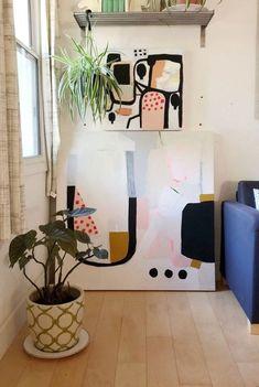 Pink black white abstract in 2020 Painting Inspiration, Art Inspo, Modern Art, Contemporary Art, Boho Home, Art Mural, Art Moderne, Abstract Wall Art, Diy Art