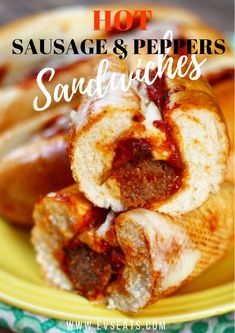 These hot sausage and pepper sandwiches are a party in your mouth! Spicy Italian sausages cooked in a delicious tomato sauce with bell peppers on a delicious hoagie roll! Hot Sausage Sauce Recipe, Hot Sausage Recipes, Sausage Sandwich Recipes, Sausage And Peppers Sandwich, Italian Sausage Sandwich, Sausage Sandwiches, Meat Recipes, Italian Sausages, Snack Recipes