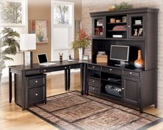 Carlyle Contemporary Black Wood Office Furniture Set