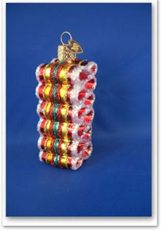 Ribbon candy Glass Merck's Old World Christmas Ornaments food 36055yg