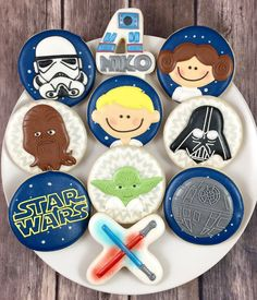 And my favourite cookies for the week . Star Wars Cookies, Star Wars Cupcakes, Star Wars Cake, Star Wars Party, Fancy Cookies, Iced Cookies, Cute Cookies, Cupcake Cookies, Sugar Cookies