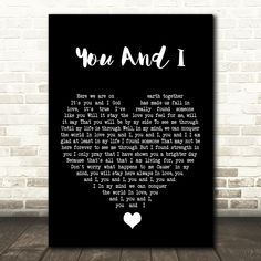 Stevie Wonder You And I Black Heart Song Lyric Quote Music Poster Print