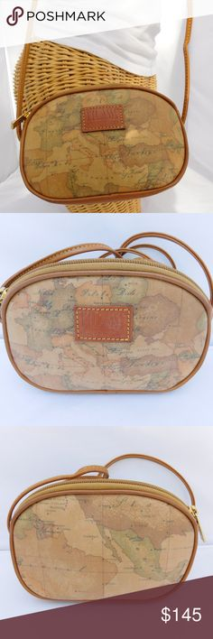 "ALVIERO MARTINI 1A Classe Vintage Small Crossbody BRAND- ALVIERO MARTINI  COLOR- BROWN/MULTI  MATERIAL- COATED WITH LEATHER TRIM  STYLE- CROSSBODY  Measurements- 7.5"" length, 5"" height, 2"" width, 23"" strap drop  CONDITION- PRE-OWNED VINTAGE VERY GOOD, MINOR SCUFFS ON LEATHER TRIM. Alviero Martini Bags Crossbody Bags"