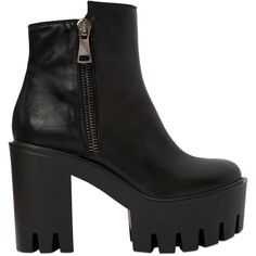 Strategia Women 100mm Zip-up Leather Ankle Boots (4.420 ARS) ❤ liked on Polyvore featuring shoes, boots, ankle booties, black, black leather boots, black ankle booties, high heel ankle boots, black booties and black platform boots
