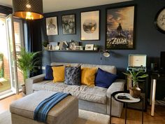 Contemporary living room with walls painted in Stiffkey Blue inky navy Mustard Living Rooms, Grey And Yellow Living Room, Blue Living Room Decor, Living Room Color Schemes, Living Room Colors, Living Room Paint, Home Living Room, Dark Walls Living Room, Living Room Wallpaper