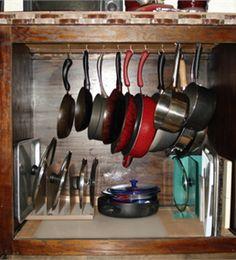 Inside cabinet pot rack
