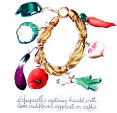 Vintage illustration of Schiaparelli vegetable bracelet