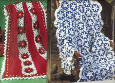 2 Afghan Crochet Patterns Snowflake & Christmas Poinsettia Holiday Blanket, Throw Annies by PatternMania3 on Etsy