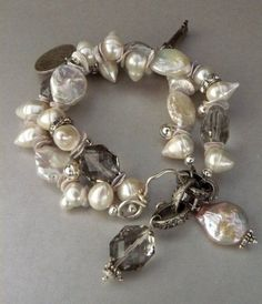 Forget Me Not Bracelet with HUGE Button Pearls by pmdesigns09 #handmadejewelry
