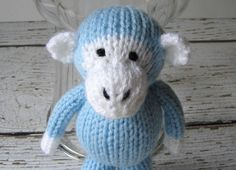 Hand Knit Little Blue Monkey  Ready To Ship  Small by VeryCarey