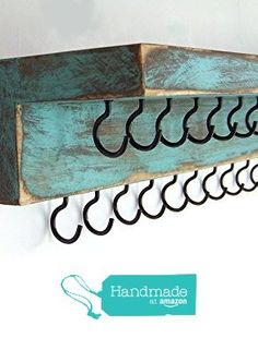 Distressed Jewelry Holder with 25 hooks and a shelf from Out Back Craft Shack https://www.amazon.com/dp/B0155Y8RQY/ref=hnd_sw_r_pi_dp_DyvswbBNV34NK #handmadeatamazon