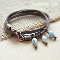 Hey friends! I just opened up some HAPPY MAIL and I was inspired to whip up today's easy wrap bracelet design. It's a beachy, boho style with shells and suede cord with just a few simple bead charms –