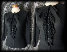 Gothic Black Frilled Knit VICTORIAN GOVERNESS Button Cardigan Top 12 14 Vintage - £29.00