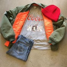 """Coors Light Tee $32+$8(shipping) domestic. Size Medium (25.5""""x18.5""""). Vintage Levi's Jeans W:27. $54+$16(shipping) & 80's MA-1 Bomber Jacket $50+$16(shipping) domestic. Size Medium (27""""x23""""). Contact the shop at 415-796-2398 to purchase by phone or PayPal afterlifeboutique@gmail and reference item in post."""
