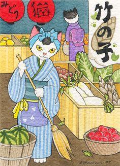 Midori Neko no Yaoya by B. Mousseau, 2008. #Japanese #art #cute #cats